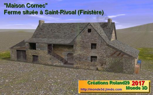 Maison Cornec : ferme du 17 ème siècle située à Saint Rivoal dans le Finistère (disponible sur la DLS) et sur ce site en version 3.3