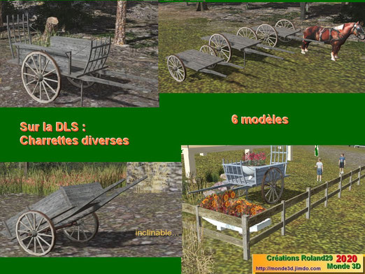 Charrettes à ridelles, fourragères et plateaux (roues 1 m et 1.30 m)