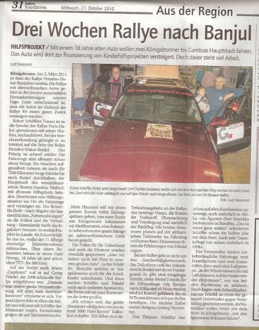 Wärend der Vorbereitungszeit berichtete die Zeitungen öfter über das Hilfsprojekt