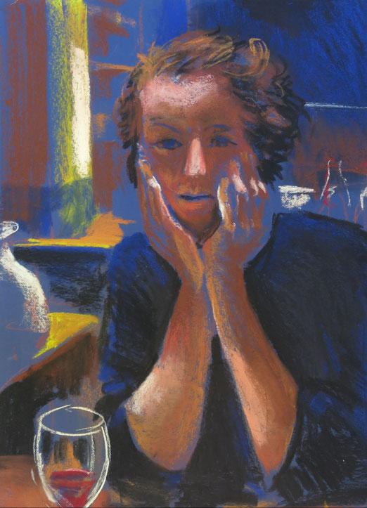 Meisje aan tafel - Pastel