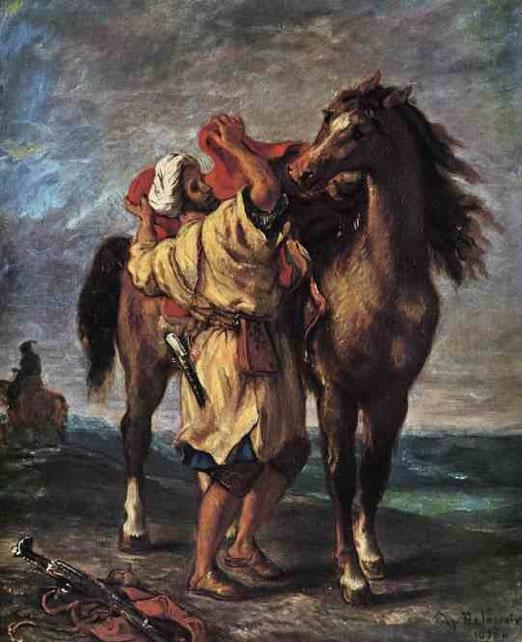 Мароканец седлающий лошадь. 1855