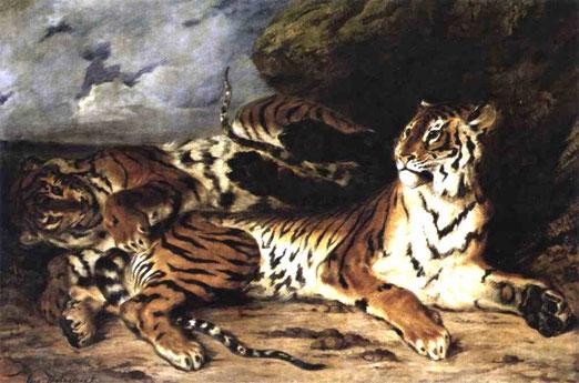 Молодой тигр, играющий с тигрицей. 1830