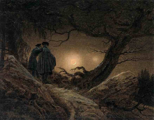 Двое мужчин, созерцающие луну. 1819-20