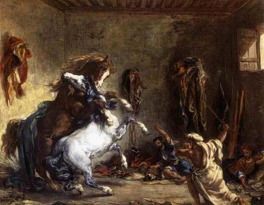 Арабские лошади во время драки. 1860