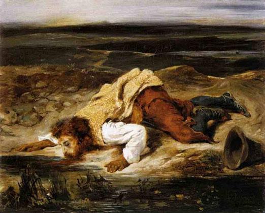 Смертельно раненный разбойник утоляет его жажду. 1825