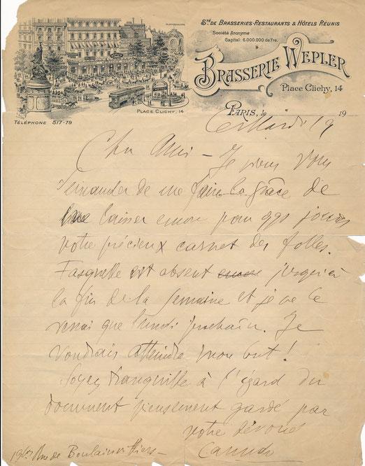 Ricciotto CANUDO lettre autographe signée carnet édition Fasquelle