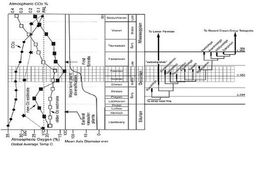 図12.幹四肢類の出現及び樹木幹直径と地球環境