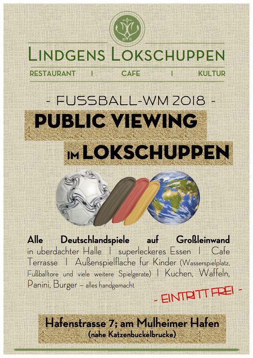 Flyer Lindgens Lokschuppen Public Viewing WM 2018