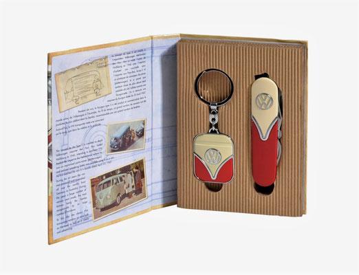 VW Bulli T1 Geschenkset, Taschenmesser, Schlüsselanhänger