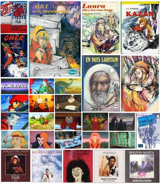 quelques exemples de livres illustrés pour hachette, des pochettes de disques, et des images des dessins animés... hilander, le fils de l'étoile, les histoires du père castor, ect...