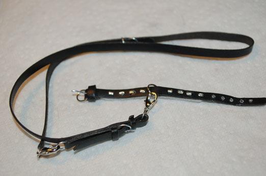 Leder Halsband-Leinen-Set,Leine 3fach verstellbar,schwarz