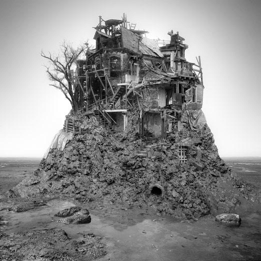 Jim Kazanjian photomontage surrealism black and white affordable low tide