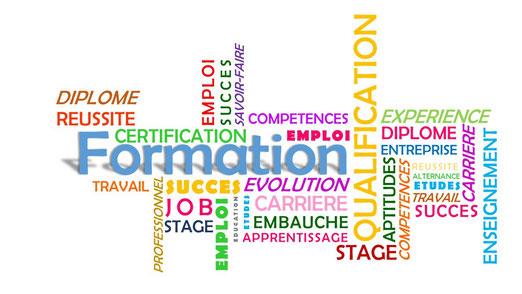 Nuage de mots sur la formation, l'emploi et la réussite