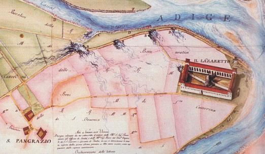 Stampa a colori del Lazzaretto fine 1700
