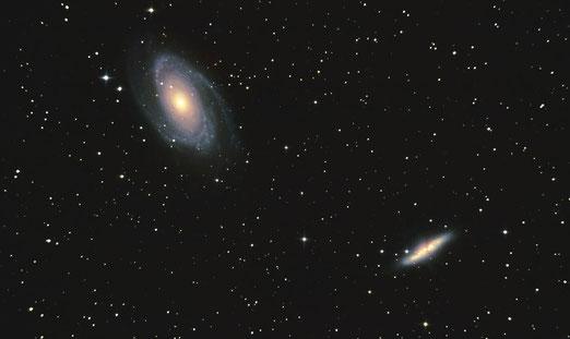 Galaxias M81 y M82 desde el Alto de Fontefría. Pablo Martínez (07/03/2014).