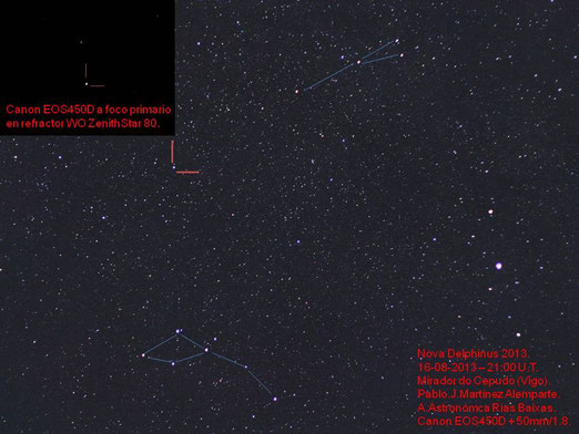 Nova Delphinus 2013 capturada desde el Monte Cepudo (Vigo) - Pablo Martínez (AARB).