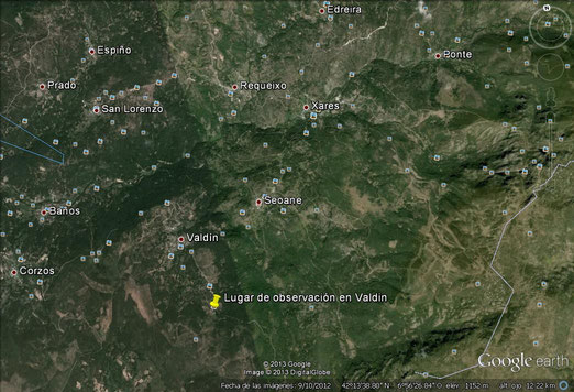 Lugar de observación en Valdín (Terras de Trevinca).