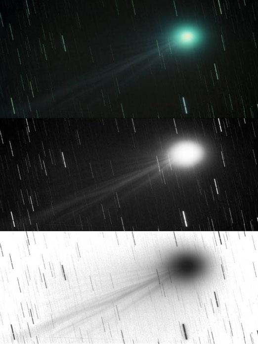 """C/2014 Q2 """"Lovejoy desde el Alto de Fontefría. Fotocomposición con: Imagen Color, B/N y Luminancia Invertida. Pablo J.Martínez (AARB)."""