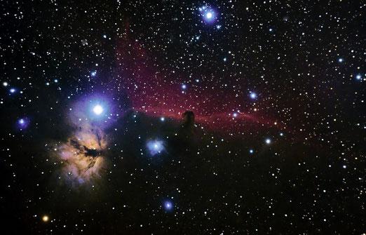 Nebulosa Cabeza de Caballo (Complejo de nebulosas IC434, B33 y NGC2024), desde el Alto de Fontefría. Pablo Martínez (7/11/2013).