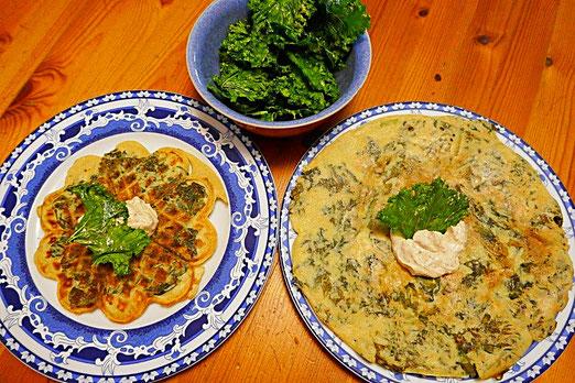 Grünkohlwaffeln, Grünkohleierkuchen und Grünkohlchips