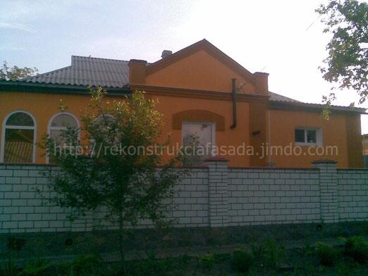 фасад дома после проведения фасадных работ ( утеплени, декор, нанесение короеда) , г. Умань