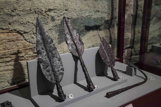 Keltische Lanzenspitzen im Burgmuseum Deutschlandsberg.
