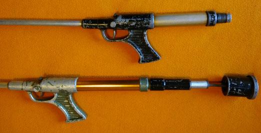 Fusiles Salmatic, la parte trasera sirve como bomba de aire y contrapesa.
