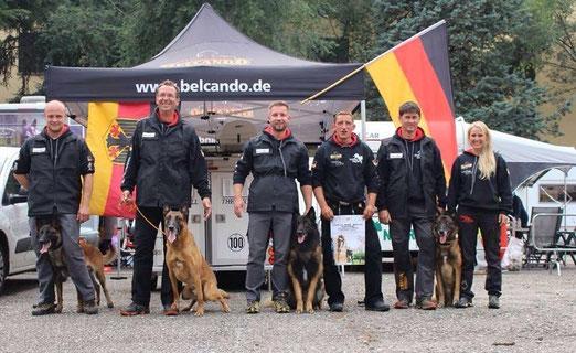 Deutsches Team Mondio WM 2014 in Merano mit mir als Hundephysio
