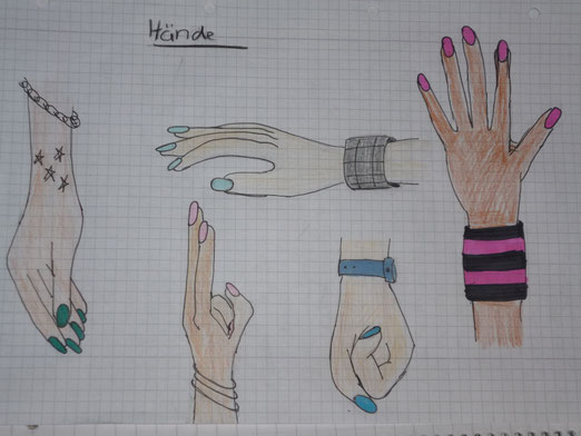 """Das passiert, wenn man 90 Minuten auf den Lehrer wartet, der aber nicht auftaucht und man sich denkt, dass es doch sinnvoll wäre Hände zeichnen zu üben, weil man das nicht so wirklich kann... ^^"""""""