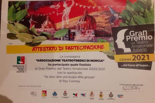 Attestato di partecipazione del Teatrotredici alla finale 2021 del Gran Premio del Teatro a Catania