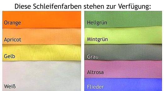 Farbmuster für Trauerschleifen