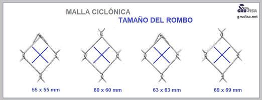 MALLA CICLONICA (CICLON) TAMAÑO DEL ROMBO