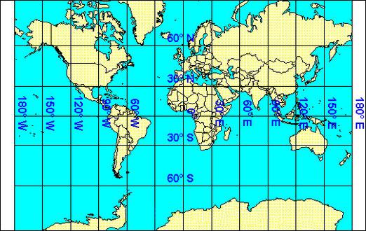 Figura 8.10 - Proiezione di Mercatore