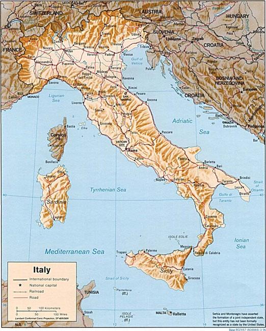Figura 8. - Carta geografica dell'Italia