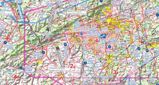 Figura 8.22 - Carta aeronautica VFR Jeppesen zona di Francoforte
