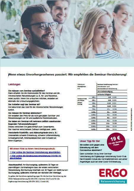 PDF-Flyer für die Seminar-Versicherung der ERGO Reiseversicherung mit Online-Buchungslink zur Corona-Covid-19-Versicherung mit Quarantäne-Maßnahmen
