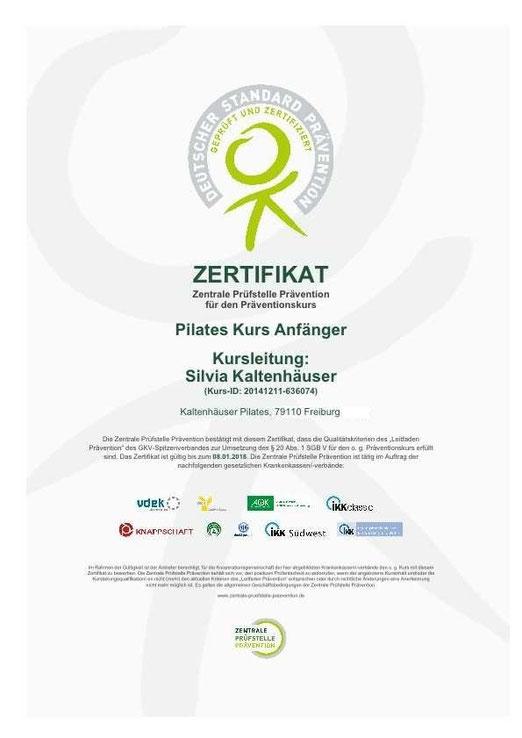 Zertifikatsbestätigung - Pilates und TCM Freiburg