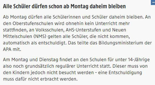 News von ORF online am 13.3.2020 abgerufen 11 Uhr 20