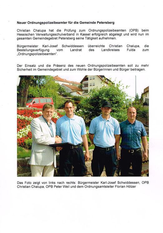 Pressemitteilung Gemeinde Petersberg v. 18.06.2012