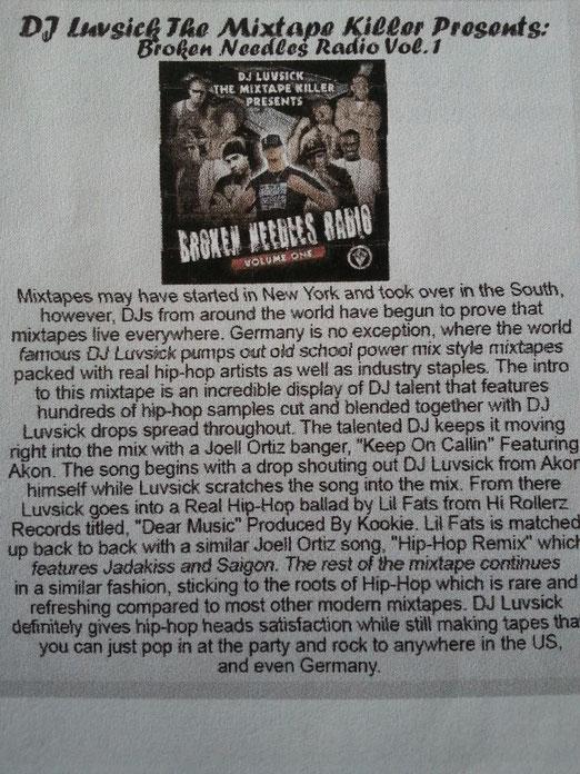 "DJ Luvsick - ""Broken Needles Radio Vol.1"" (Coast 2 Coast Issue No.2 Review ; USA )"