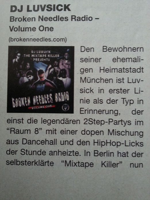 "DJ Luvsick -  ""Broken Needles Radio Vol.1"" (Juice Mag Review ; Oktober 2007)"