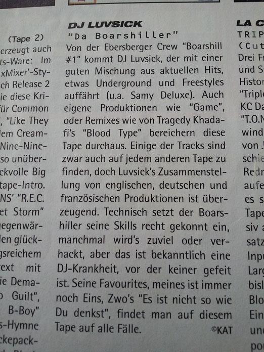 """DJ Luvsick - """"Da Boarshiller"""" (Juice Mag Review ; June 1999)  SVEN KATMANDO"""