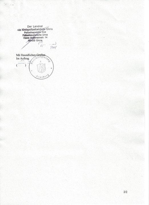 Zeitlich Unbegrenzte Ausnahmegenehmigung nach §74 Abs.1 Nr.1 vom § 6 der FeV aus 2004. Intern beglaubigt durch die Kreispolizeibehörde Unna!