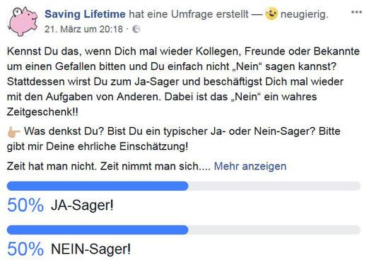 """Umfrage innerhalb unser Facebook-Community zum Thema """"Ja- oder Nein-Sager"""", 01.04.2018"""