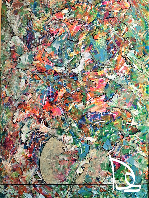 Lib 12/20 Peinture acrylique sur bois  23 x 43 cm