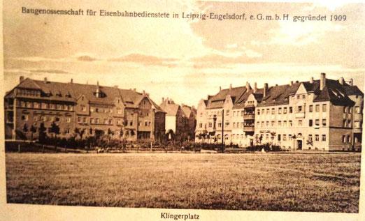 Ansichtskartenansicht des Klingerplatzes vor vollständiger Bebauung