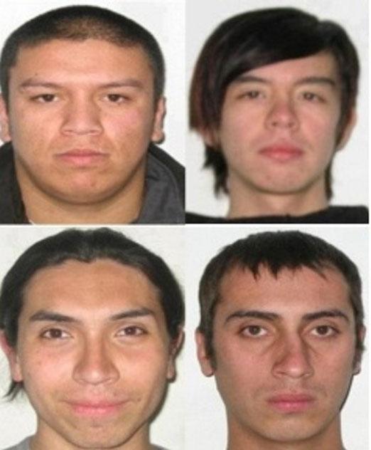 Les quatre agresseurs: Patricio Ahumada, Alejandro Angulo, Raul Lopez et Fabian Mora