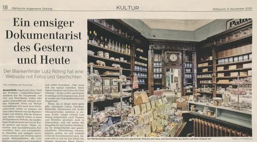 Artikel über www.zeit-fuer-berlin.de in der Märkischen Allgemeinen Zeitung