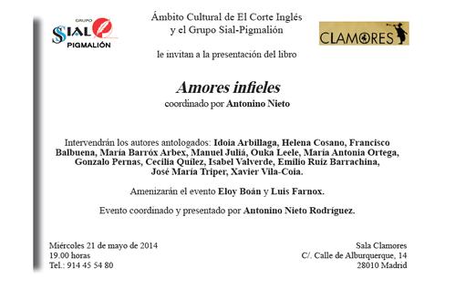 """PRESENTACIÓN DE LA ANTOLOGÍA """"AMORES INFIELES"""", en la cual he colaborado."""