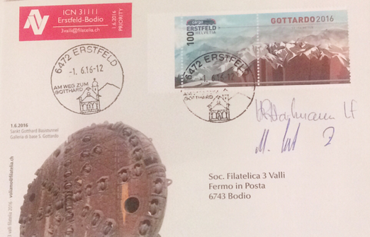 Gotthard Base Tunnel opening on the 1.6.2016 in Switzerland (longest Tunnel  57km/35.5mi), signed by H.R. Hartmann (Train Driver) and Martin Ernst (Conducter) which ran the first official Train trough the Tunnel from Erstfeld to Bodio with the ICN 31111, bought at Tunnel opening ceremony
